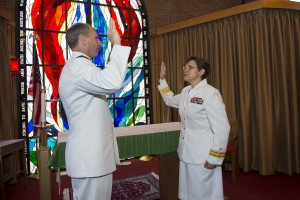 (Peter D. Lawlor/U.S. Navy) Chief of Naval Operations Adm. Jonathan Greenert gives Rear Adm. Margaret Kibben the oath of office and promotes her to the rank of rear admiral upper half at the Washington Navy Yard Chapel in August.