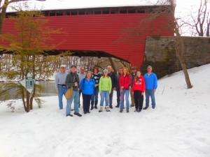 First PC's Faith & Nature Group enjoys the winter setting at Gring's Mill Park in Reading.