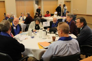 Commissioners of the Synod of the Trinity interact during a getting-to-know-you exercise on Monday