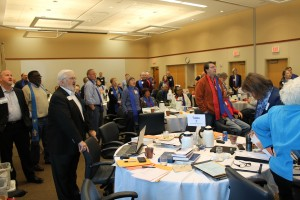 Singing was a common activity throughout the two-day Synod Assembly in State College. Pianist Benjamin Bergey led the group in song various times.