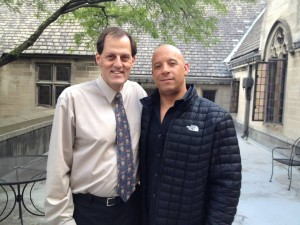 "Rev. Randy Bush spends a moment with actor Vin Diesel during the recent filming of ""The Last Witch Hunter"" at East Liberty Presbyterian Church in Pittsburgh."