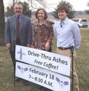 Getting set for their Ash Wednesday drive-thru service at Westminster Presbyterian Church are, from left, pastors Gary ArnTessoni, Ann Hatfield and Jon Frost.