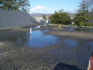 The flat roof at First PC of Dunbar is partly to blame for water that has seeped into the church's Fellowship Hall and choir room.