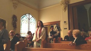 The Rev. Elizabeth Campbell-Maleke presides over a Scottish Heritage Service at First Presbyterian Church of Williamstown, WV. The Rev. Campbell-Maleke came to the church through the Small Church Residency Program.