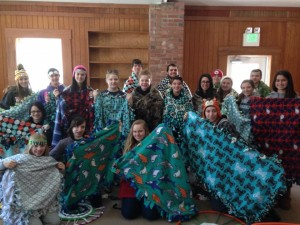 Some of the youth at Crestfield made blankets that were given to a local pregnancy resource center.