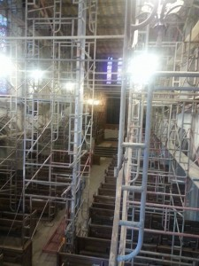 The intricate scaffolding that was needed to clean the sanctuary caused First PC of Beaver Falls to relocate its Sunday morning worship services for four months.