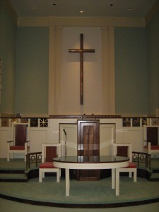 An interior view of the Ruffner Memorial sanctuary, with pulpit and choir loft.
