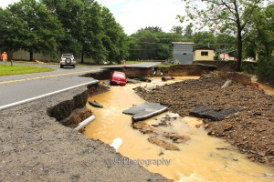road washed away