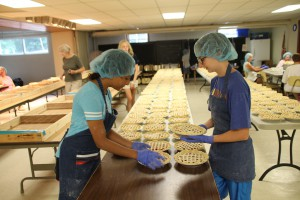 Cherry Pie baking for Cherry Festival, at First Presby Ch. of North East, Pa, Tusday, July 10, 2018.
