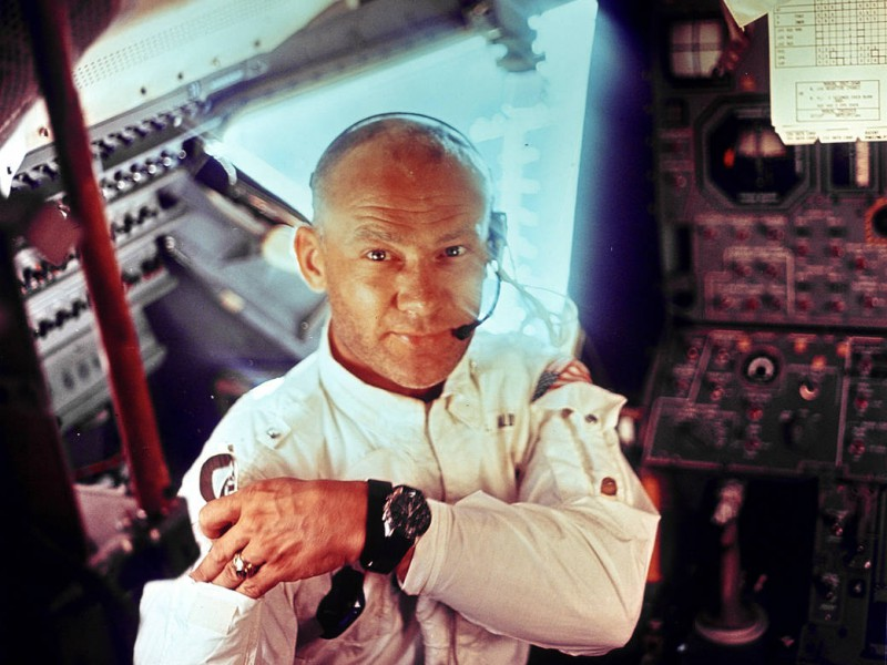 This interior view of the Apollo 11 Lunar Module shows Astronaut Edwin E. Aldrin, Jr., lunar module pilot, during the lunar landing mission. This picture was taken by Astronaut Neil A. Armstrong, commander, prior to the moon landing.